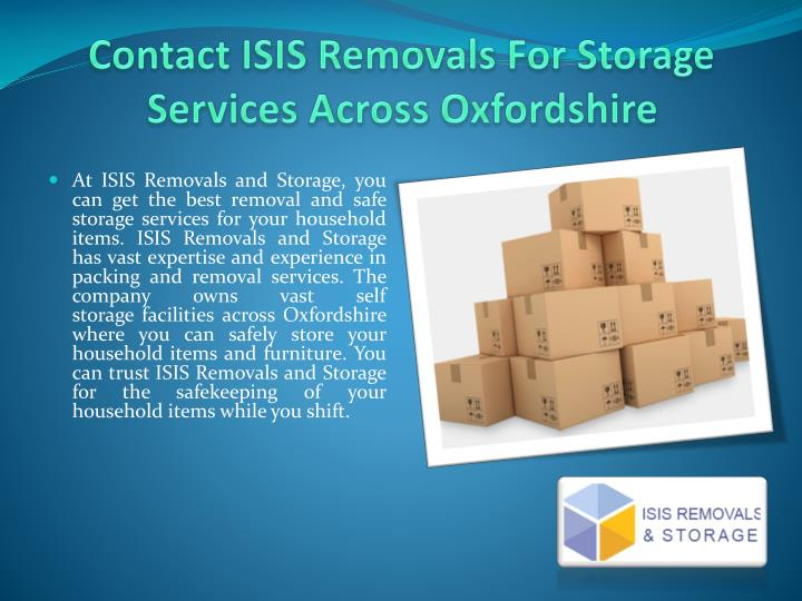 Contact isis removals for storage services across oxfordshire1