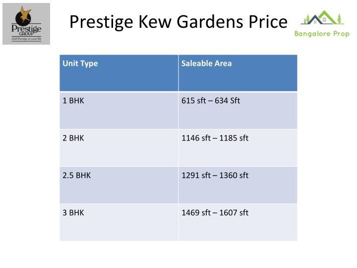 Prestige Kew Gardens Price