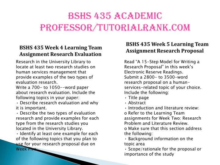 BSHS 435 Academic professor/tutorialrank.com