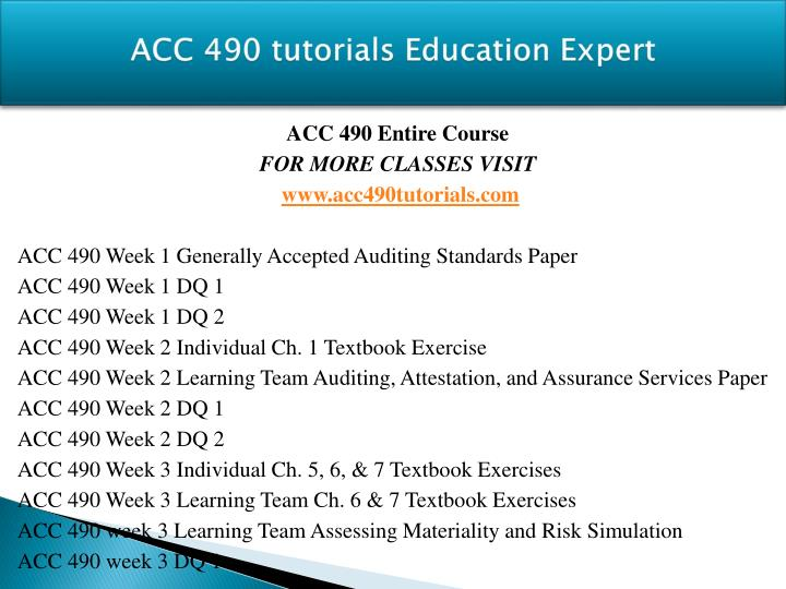 Acc 490 tutorials education expert