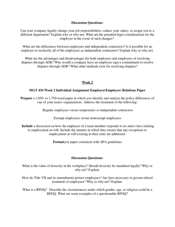 mgt 434 employment law legal process paper