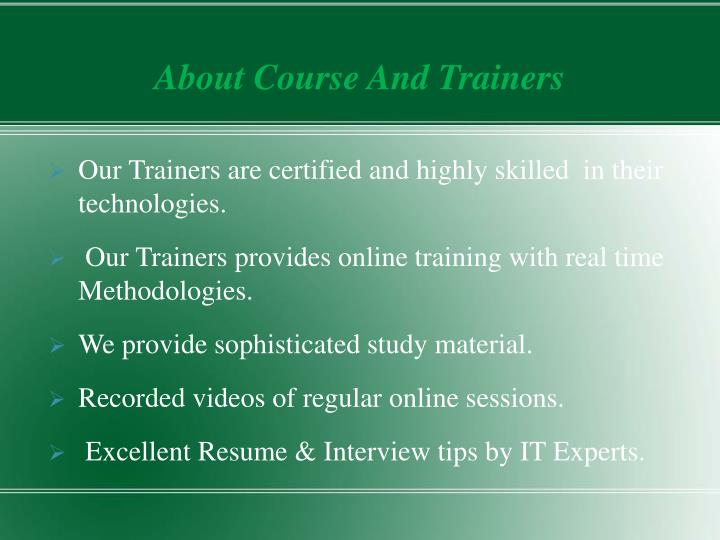 About course and trainers