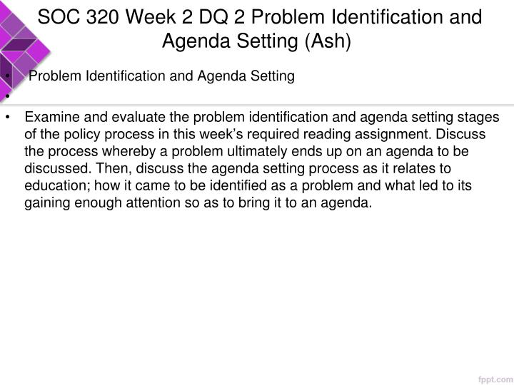 SOC 320 Week 2 DQ 2 Problem Identification and Agenda Setting (Ash)