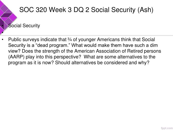 SOC 320 Week 3 DQ 2 Social Security (Ash)