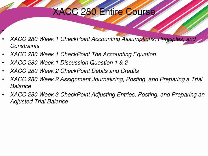 xacc 291 week 7 checkpoint