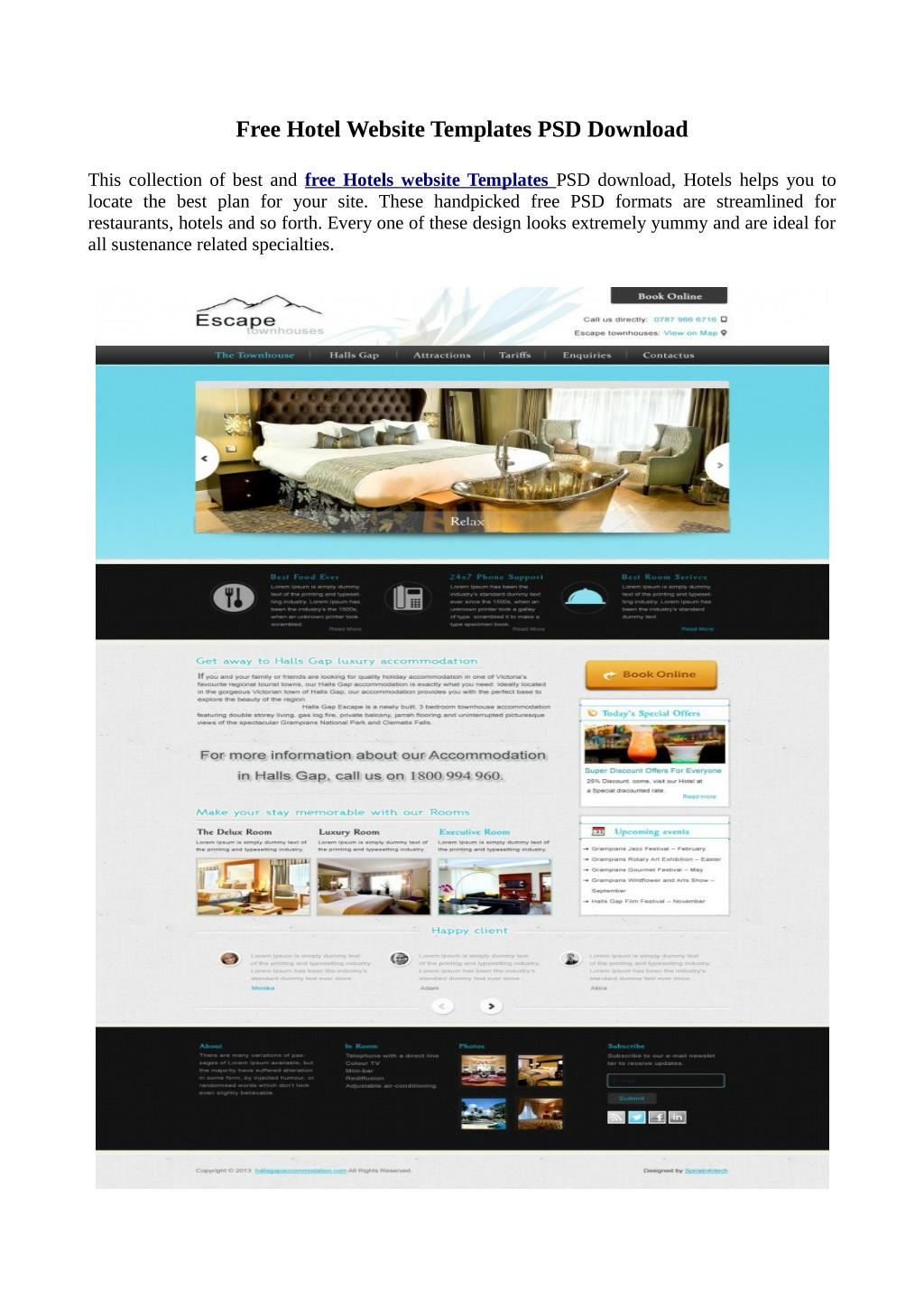 Ppt Free Website Templates Psd Download For Hotel Powerpoint Presentation Id 7275761