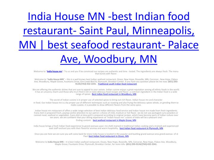 House Mn Best Indian Food Restaurant