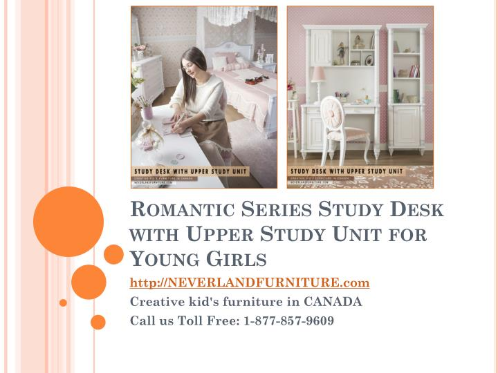 Romantic series study desk with upper study unit for young girls