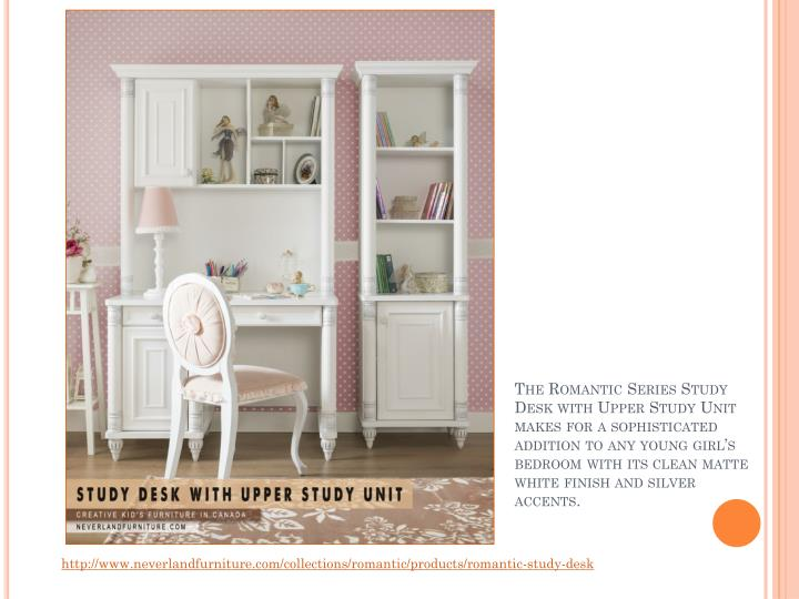 The Romantic Series Study Desk with Upper Study Unit makes for a sophisticated addition to any young girl's bedroom with its clean matte white finish and silver accents.