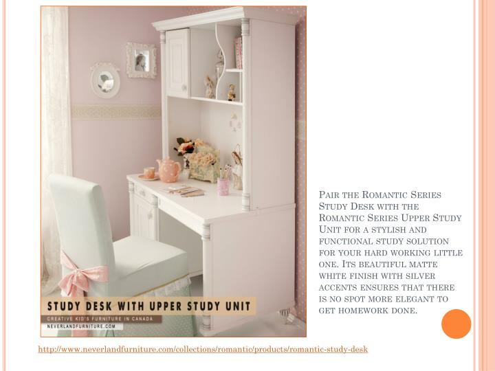 Pair the Romantic Series Study Desk with the Romantic Series Upper Study Unit for a stylish and func...