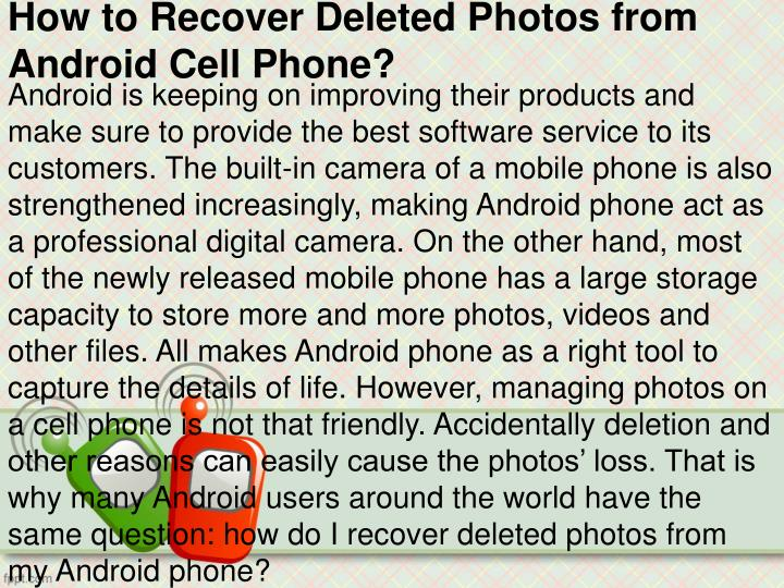 how to recover deleted photos from android cell phone n.