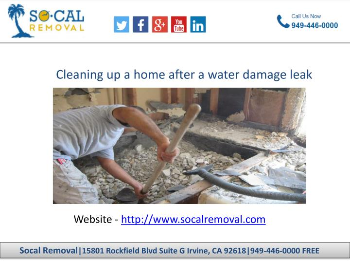 Cleaning up a home after a water damage leak