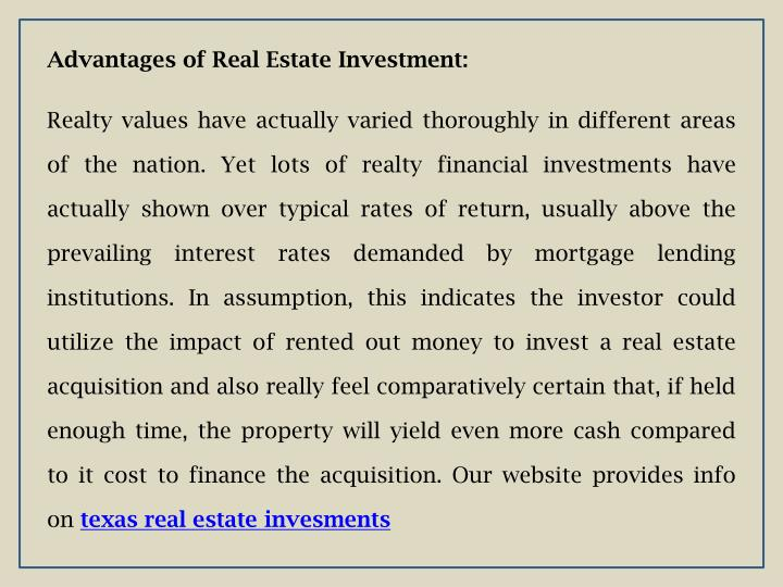 Advantages of Real Estate Investment: