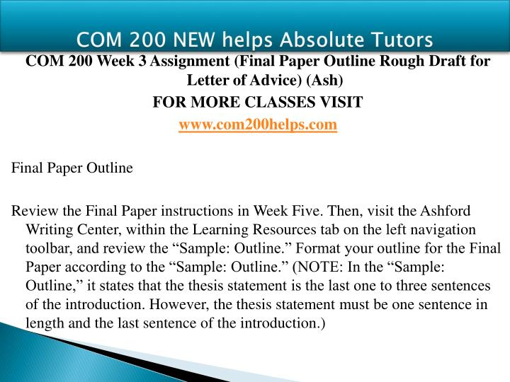 ashford com 200 final paper letter of advice