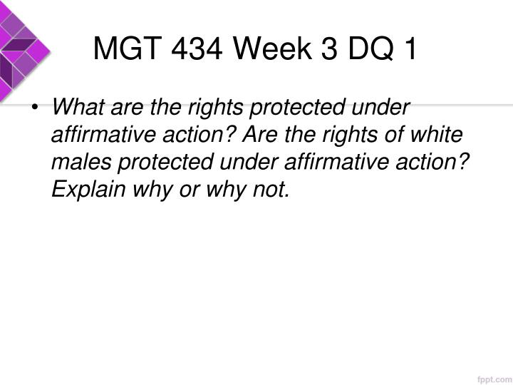 affirmative action paper mgt 434 Mgt 434 week 4 training workshop on affirmative actionresource: department of labor websitethe human resources department has been tasked by the ceo to develop.