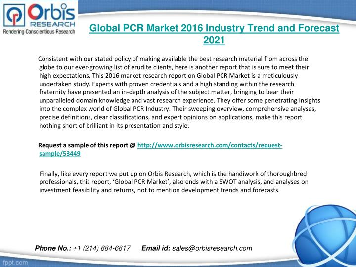 Global pcr market 2016 industry trend and forecast 20211