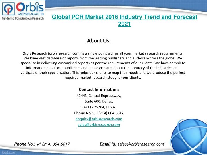 Global pcr market 2016 industry trend and forecast 20212