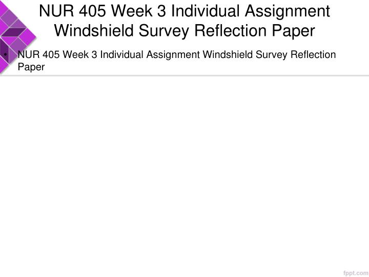 NUR 405 Week 3 Individual Assignment Windshield Survey Reflection Paper