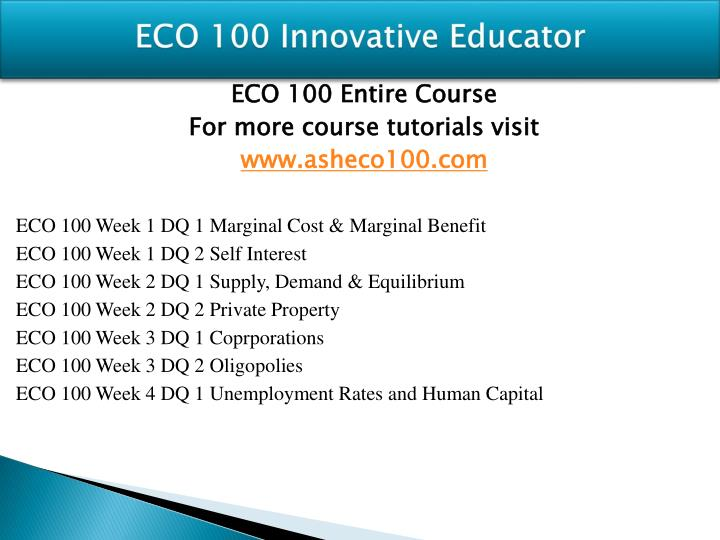 Eco 100 innovative educator