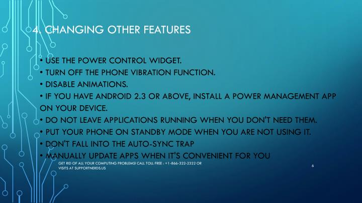 4. Changing other features