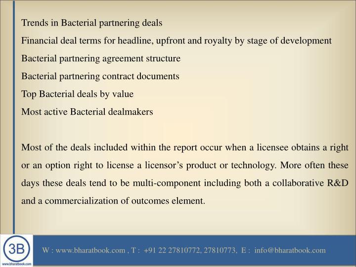 Trends in Bacterial partnering deals