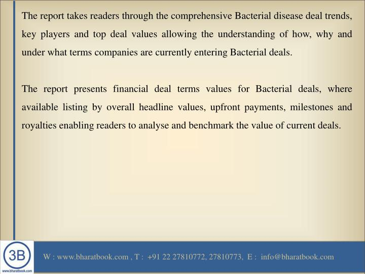 The report takes readers through the comprehensive Bacterial disease deal trends, key players and top deal values allowing the understanding of how, why and under what terms companies are currently entering Bacterial deals.