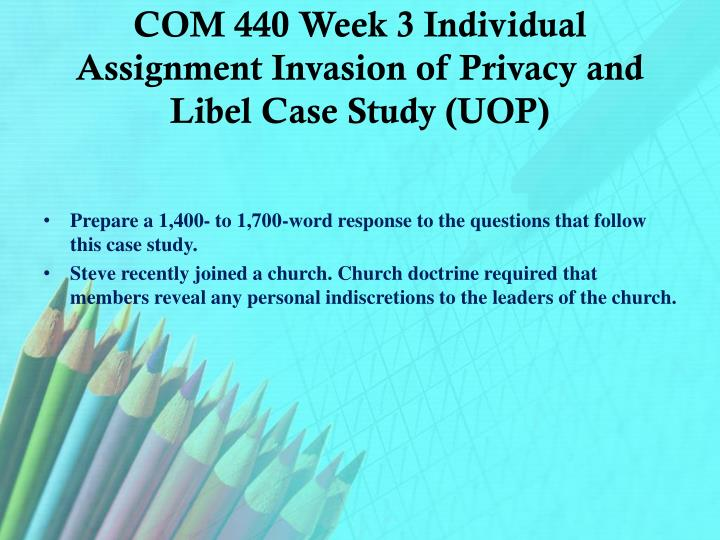 individual assignment case study Ltc 328 week 3 individual assignment case study complaints nationwide training, a company specializing in developing and delivering specialized training programs, has been asked to create a module regarding age discrimination to be used in read more.