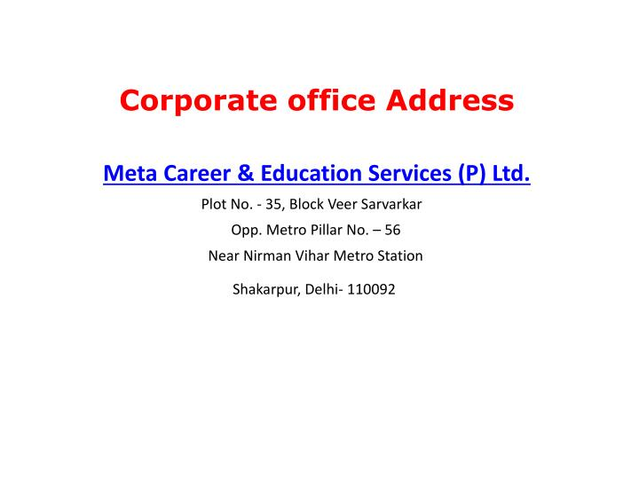 Corporate office Address