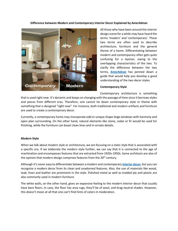 PPT - Difference between Modern and Contemporary Interior