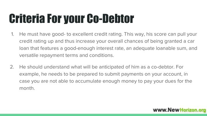 Criteria For your Co-Debtor