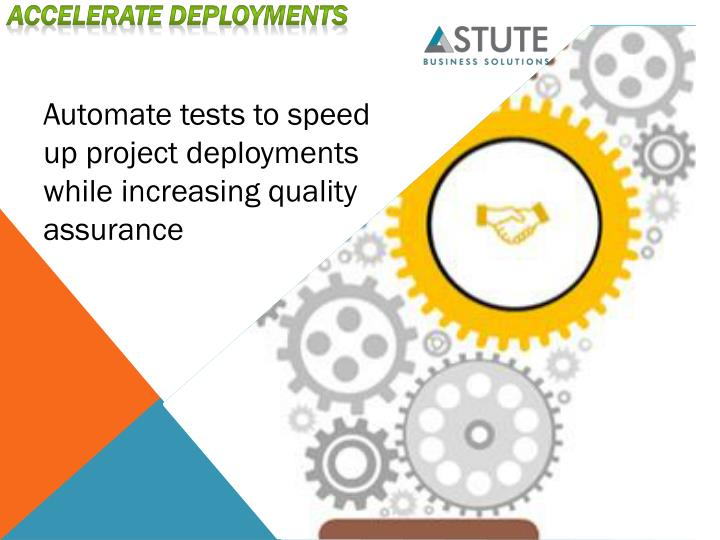 Automate tests to speed up projectdeployments while increasingquality assurance