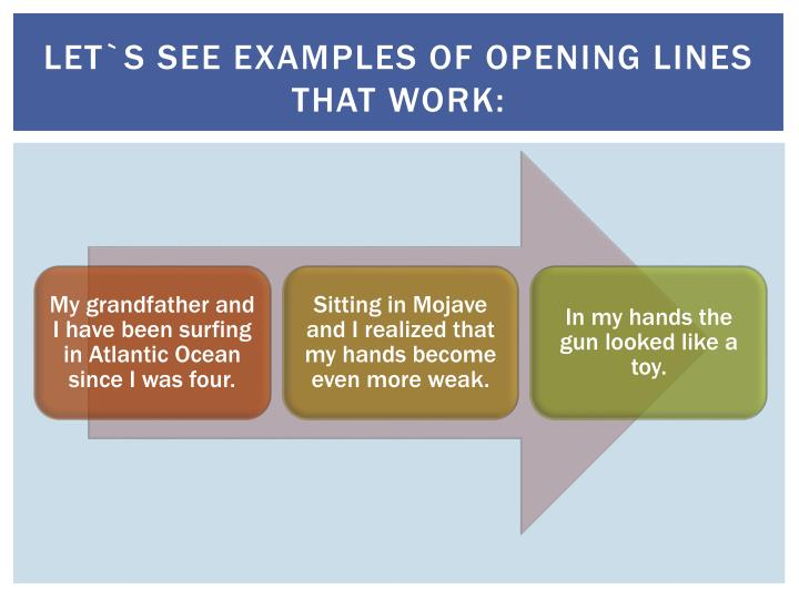 Let`s see examples of opening lines that work: