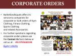 corporate orders