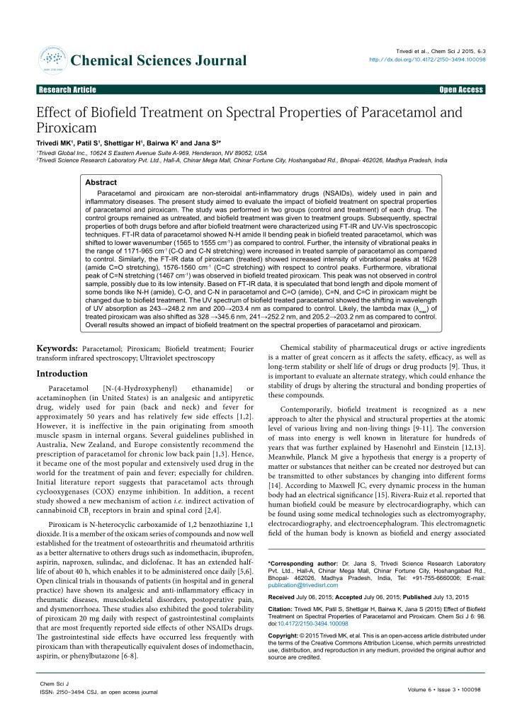 Inspection of spectral properties of piroxicam