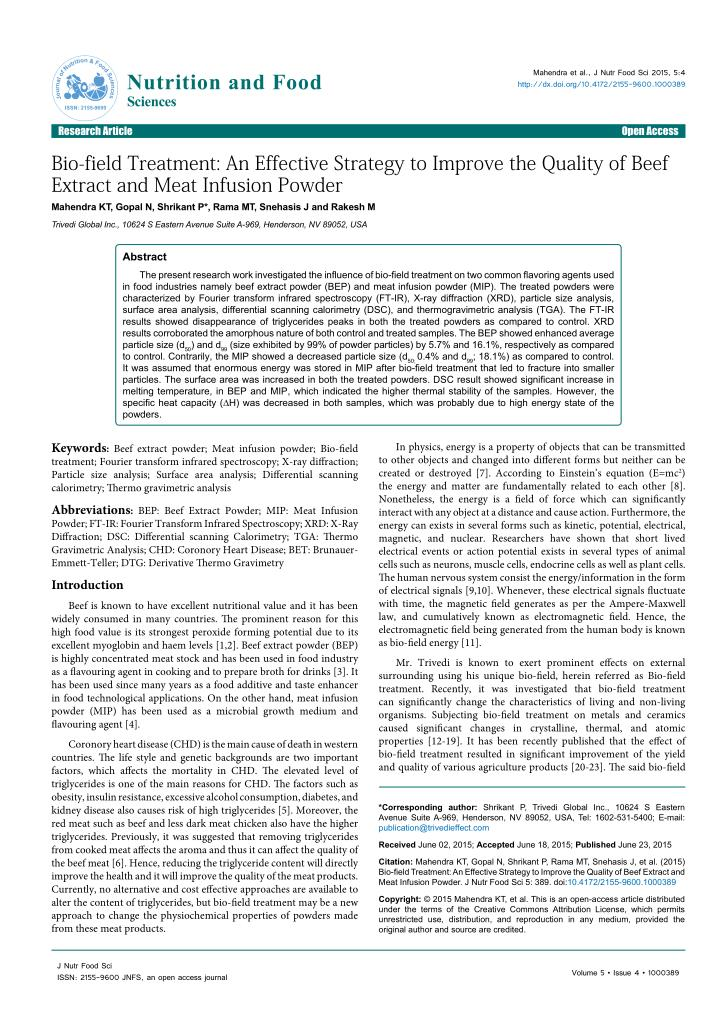 Physicochemical properties of beef extract powder