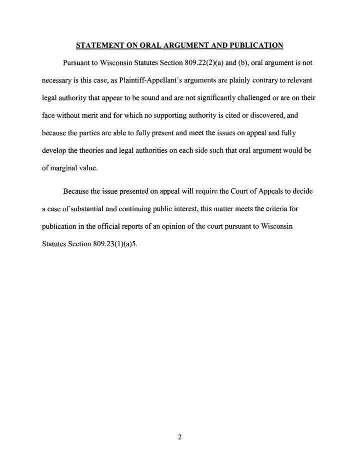 STATEMENT ON ORAL ARGUMENT AND PUBLICATION