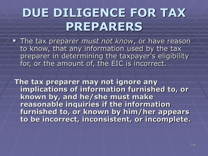 DUE DILIGENCE FOR TAX PREPARERS