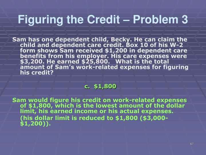 Figuring the Credit – Problem 3