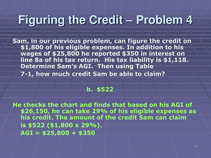 Figuring the Credit – Problem 4