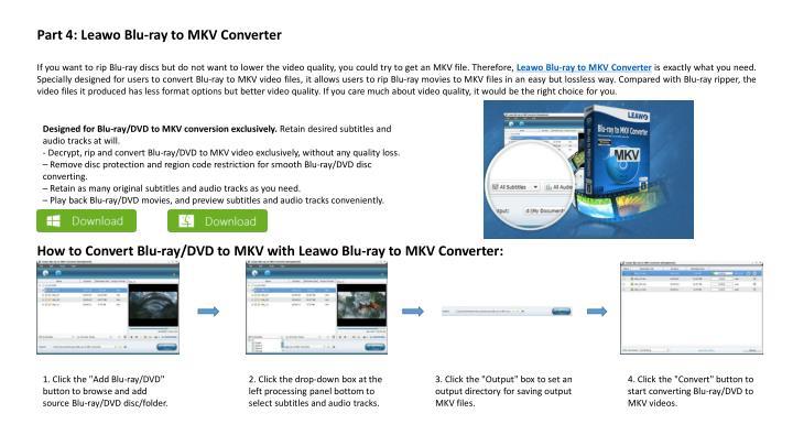 Part 4: Leawo Blu-ray to MKV Converter