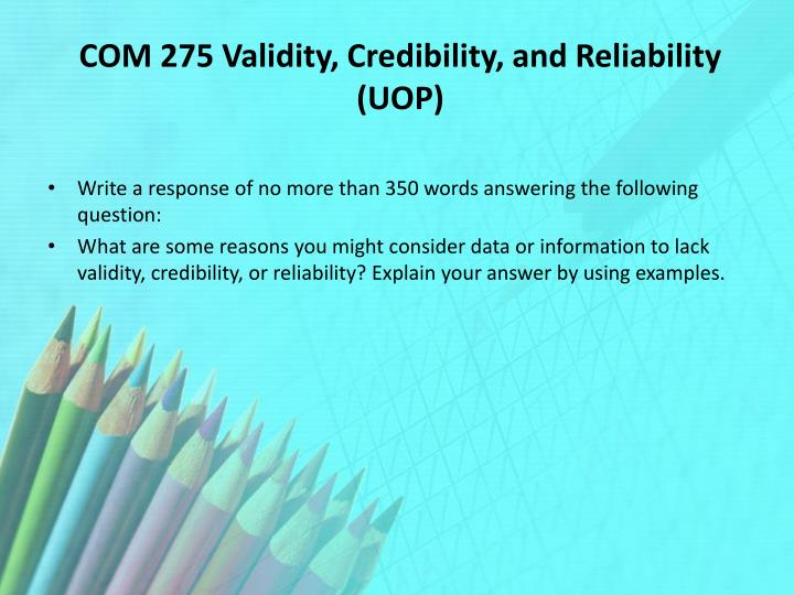 validity reliability and credibility
