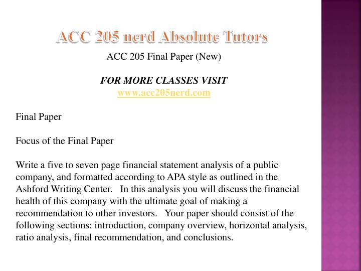 acc 205 final paper example