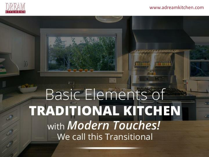 Basic elements of traditional kitchen with modern touches we call this transitional