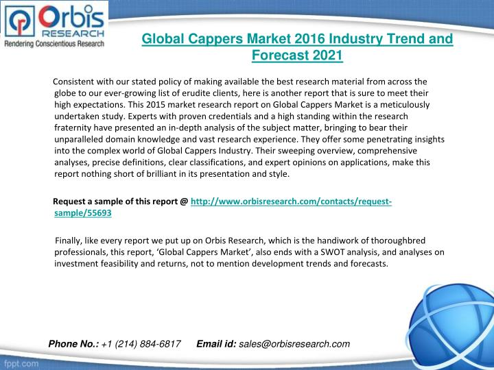 Global cappers market 2016 industry trend and forecast 20211