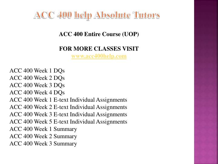 individual assignment week 1 acc 400 To purchase this material click below link:- read more about individual and accounting.