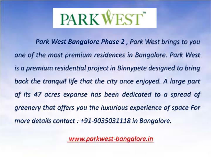 Park West Bangalore Phase 2