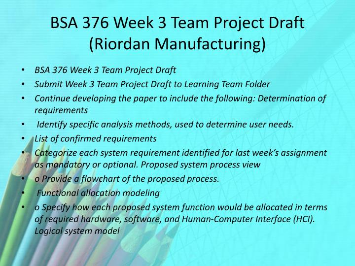 riordan manufacturing process improvement team paper Riordan manufacturing : process improvement learning team a ops/571 this preview has intentionally blurred sections sign up to view the full version.