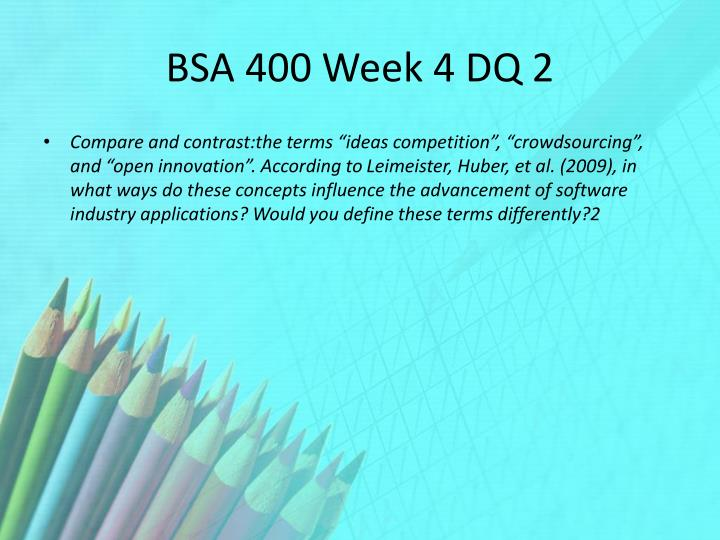 BSA 385 Week 2 DQ 1