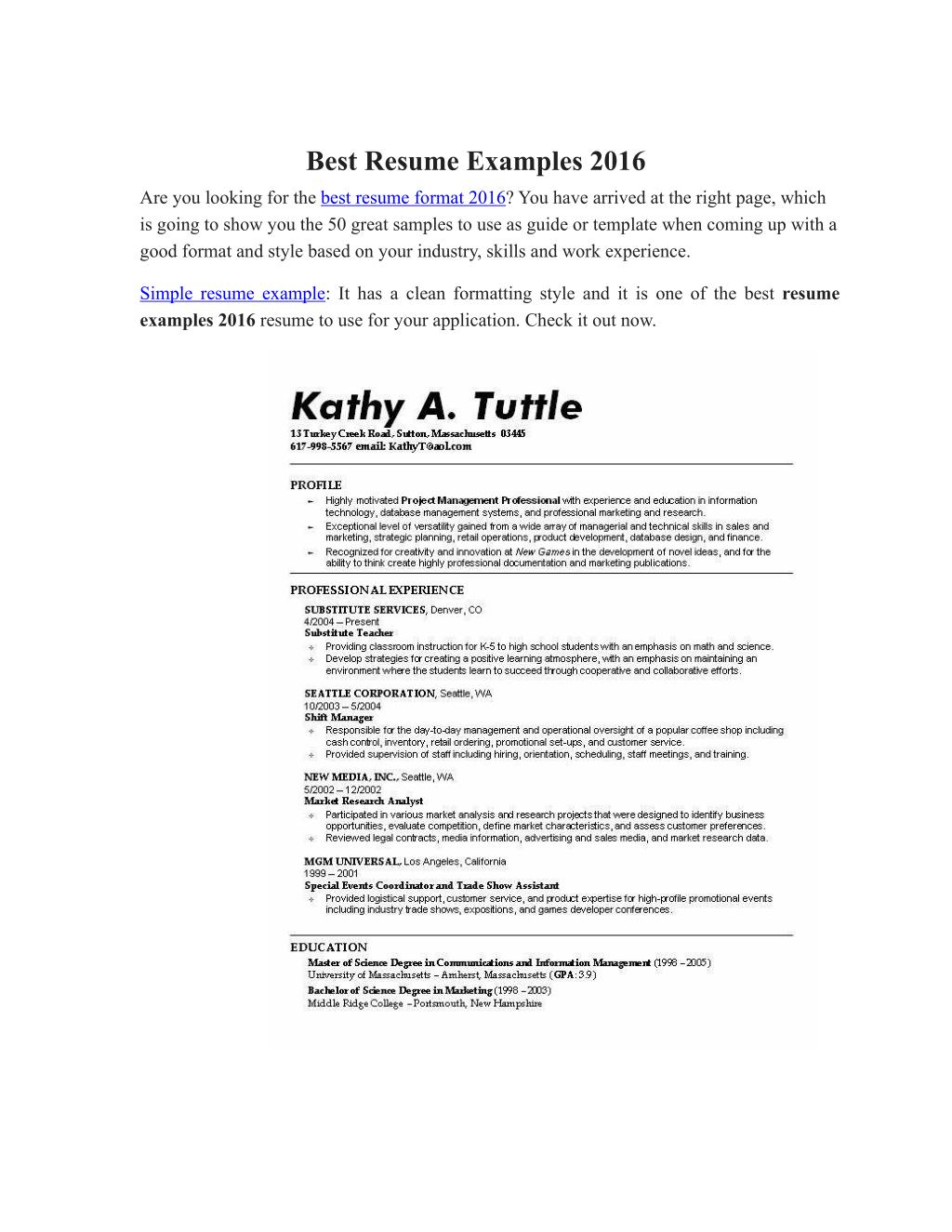 Ppt Best Resume Examples 2016 Powerpoint Presentation Id7284828
