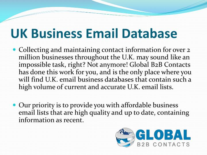uk business email database n.